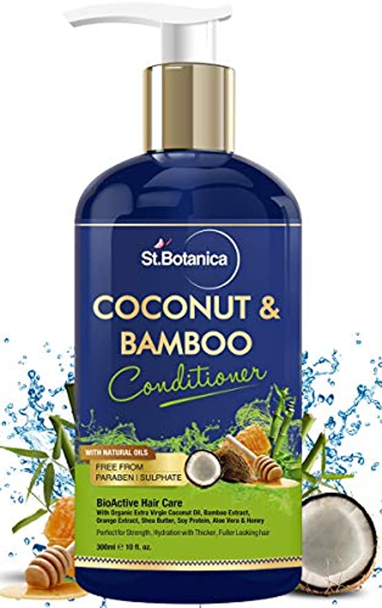 StBotanica Coconut & Bamboo Hair Conditioner, 300ml - For Hair Strength & Hydration, with Organic Virgin Coconut...