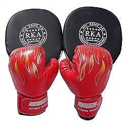 edunamay 親子 で 練習 ボクシング セット ミット グローブ (赤)