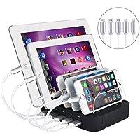 Evfun USB充電スタンド 収納充電 5ポート同時充電 充電ステーション 1A/2.4A iPhone iPod iPad Android スマホ/タブレット対応 (ブラック) (ブラッ-ケーブル5本付き)