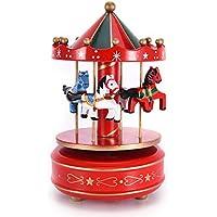 Wholehot メリーゴーランド オルゴール 回転木馬 木製 カルーセル ミュージカル ボックス おもちゃ クリスマス 誕生日 バレンタインプレゼント ロマンティック 雰囲気 お部屋 インテリア雑貨 置物 全5色(レッド)