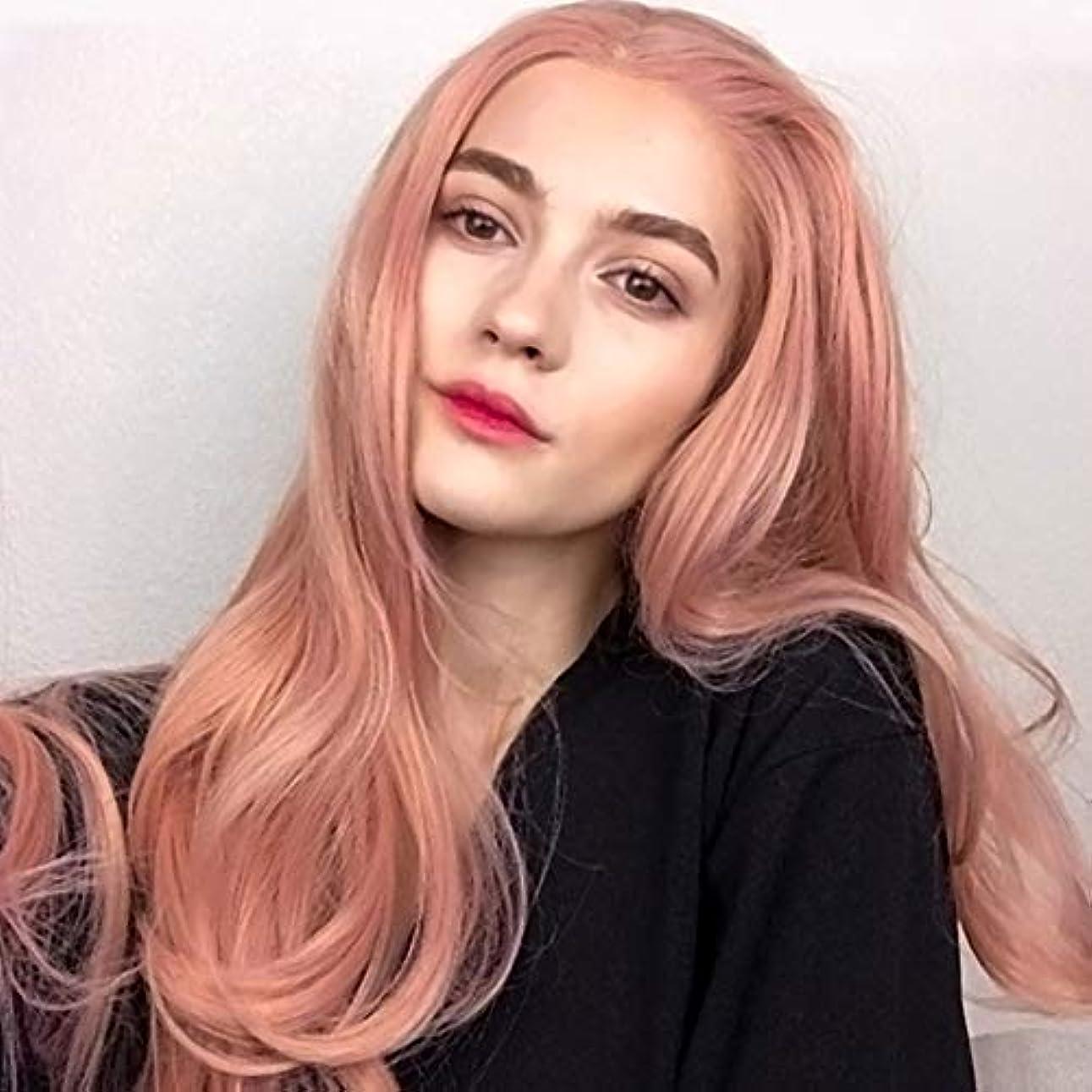 職業定常バンガロー高温ワイヤー耐熱合成繊維完全手織り波状層状かつら髪密度と合成フロントレースかつら女性用150%(26インチ、ピンク)