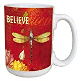 Tree-Free Greetings 45548 Angi and Silas Dragonfly Believe Ceramic Mug with Full-Sized Handle, 15-Ounce