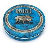 Reuzel - Blue Strong Hold Water Soluble Pomade For Men - High Shine & Gloss - Maintains Pliability - Non-Hardening - Non-Flaking - Calming Vanilla Wood Scent - Easy To Wash Out - 4 oz, 113 g
