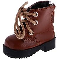 Lovoski ファッション レースアップ   厚い ヒール  PUレザー   ブーツ  靴  1/4 1/6 BJD SDドール用  3色選べる  - 1/4 BJD用ブラウン