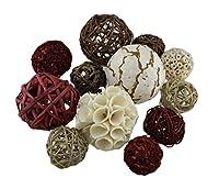 木製装飾フルーツとボール18pc。Exotic Dried有機装飾球モデル# One Size 62244