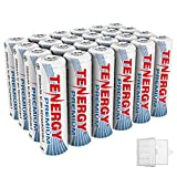 Tenergy 24 Pack Premium Rechargeable AA Batteries, High Capacity 2500mAh NiMH AA Battery, AA Cell Battery with 6 AA Holders