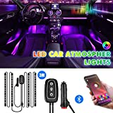 Interior Car Lights,LED Strip Lights for Cars Upgrade Two-Line Design Waterproof APP Controller Lighting Kits with Wireless Remote Control & Music Sensor, DC 12V