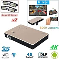 FidgetGear 8000 Lumens Android 3D DLP 4K Projector Wifi Bluetooth 1080P Home Theater Cinema Silver 8000Lumens Projector+2x 3D Glasses