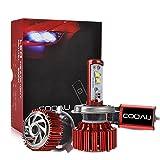 COOAU 車用 H4 LEDヘッドライト 車検対応 H4 Hi/Lo 40W切り替え LEDヘッドライト80W 8000ルーメン 2面チップ搭載 LEDバルブ HIDキット 防水IP68 フォグランプ 冷却ファン内蔵モデル 取り付け簡単 超高輝度 DC9-36V 6000K カーライト 2本セット自動車LEDライト 1年保証付き