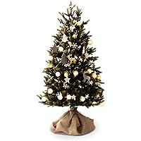 LOWYA (ロウヤ) クリスマスツリー ツリー 天然木オーナメント コットンボールライト リアルMIX葉 足元ファブリックカバー付き トナカイ 星 北欧 シンプル おしゃれ 150cm