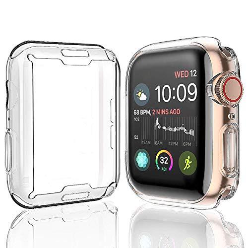 Misxi 【2枚セット】 Apple Watch Series 5 / Series 4 44mm ケース, 全面保護 耐衝撃 柔らかい TPU ウオッチ保護ケース超薄型カバー 2019 新しい アップルウォッチシリーズ 4 44mm ケース (2クリア)