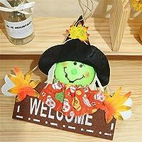 Cozyswan かぼちゃ人形 縄付き 手作り 28 * 30cm ハロウィン装飾 welcomeサイン もみじ付き 布製 ぬいぐるみ ドール かわいい 装飾 吊り ドア 玄関 ハロウィン (緑の魔女ドール)