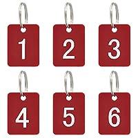 Aspire 50 Piecesにキーリング付きのタグ アクリルIDタグの整理とソート - レッド 長方形 - 1to50