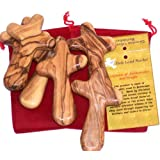 Six Olive Wood Crosses with Velvet Pouches