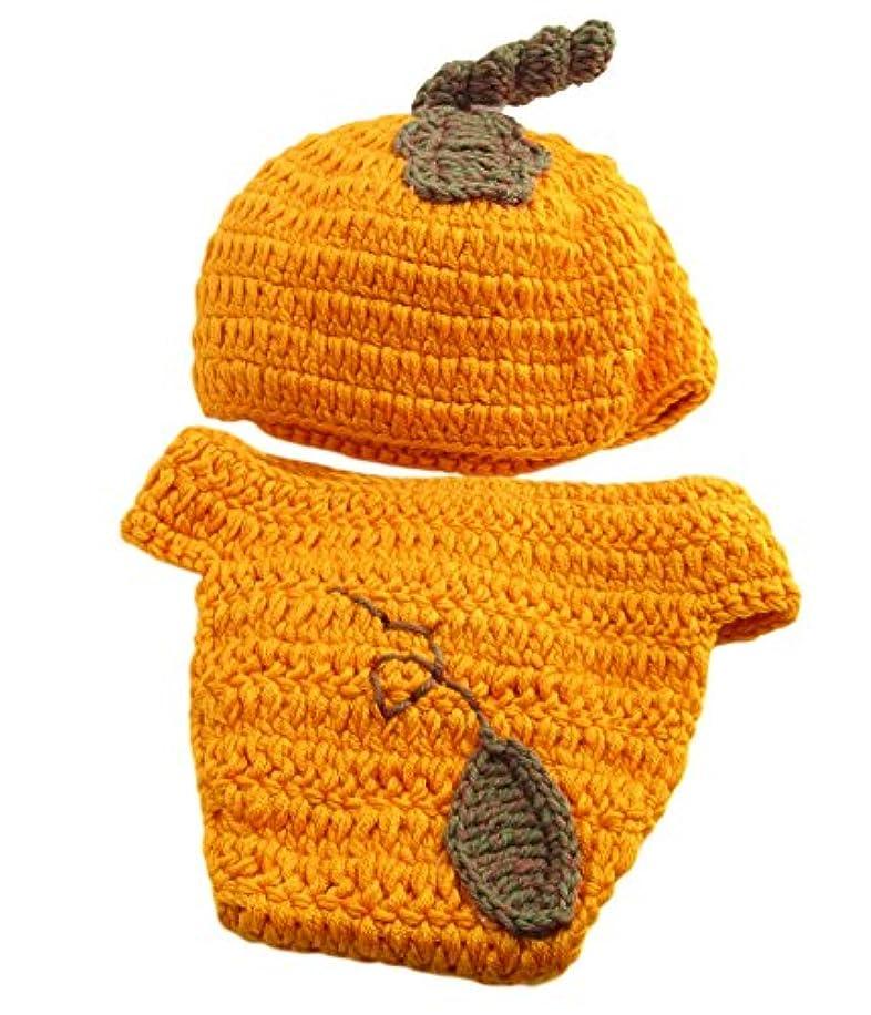 ピッチガウン中傷(ザッカリーズ) ZACCARY's ハロウィン パンプキン ベビー ニット 帽 おむつ ガード 防水バッグ セット <オレンジ>