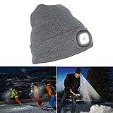 Lemonda ニット帽 ニットキャップ LEDライト付き 帽子とヘッドライトが一体化 自転車 ランニング 登山 夜間作業 防寒 防災 遠足 冬 おしゃれ シンプル ニットライト USB充電式 フリーサイズ (グレー)