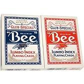BEE(ビー) 77 ジャンボインデックス トランプ 赤/青 ポーカーサイズ 2デックシュリンクパック