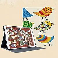 IPad Mini ケース クリア IPad Mini2 ケース レザー PU IPad Mini3 ケース 軽量 スタンド機能 傷つけ防止 オートスリープ ハード二つ折 抽象的なパターンファンキーな鳥カラフルなデザイン花ドットラインサークル動物の楽しみ装飾
