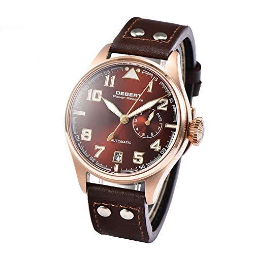Debert 42mm コーヒーダイアル ゴールドメッキ ステンレススチールケース サファイアガラス 夜光マーク パワーリザーブ 自動巻き メンズ パイロット腕時計 Model-1