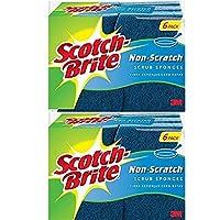 Scotch-Brite 傷つきにくいスクラブスポンジ、6スポンジ(2パック(6スポンジ))