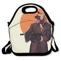 ランチバッグ 大容量弁当バッグ トートバッグ 手提げバッグ お弁当入れバッグ 怒るキツネ 通勤 通学 バッグ