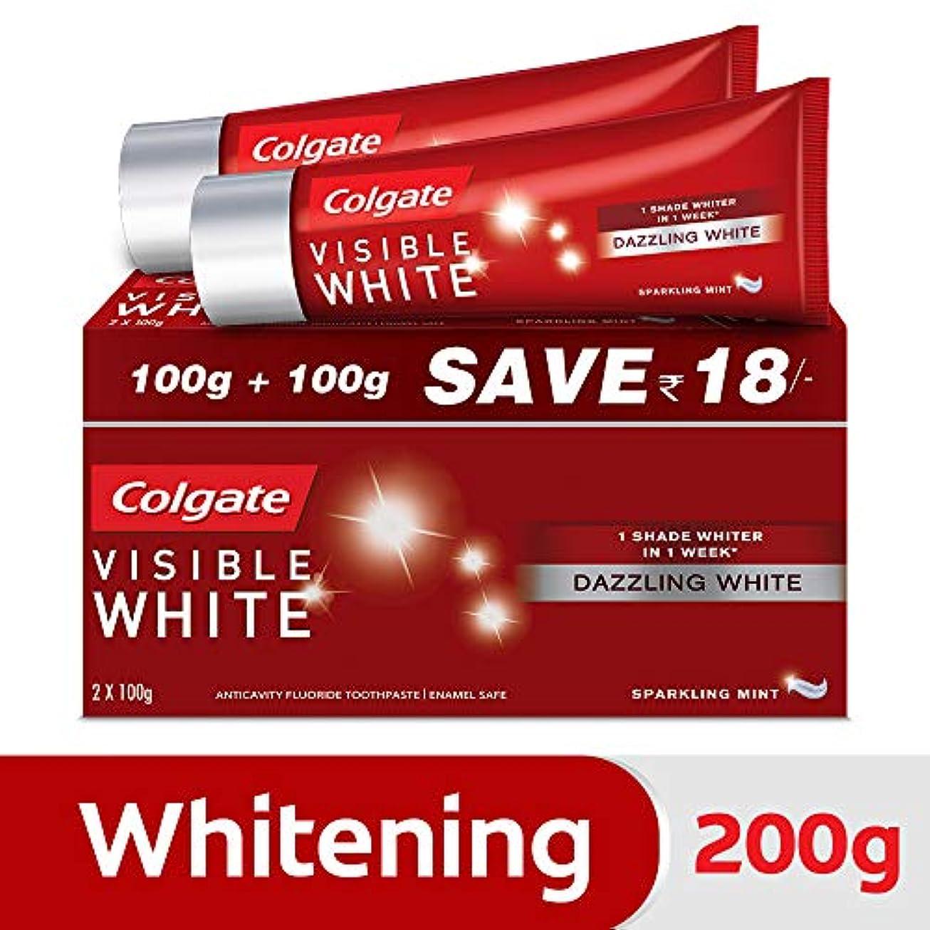 弾薬カウントアップ地平線Colgate Visible White Dazzling White Toothpaste, Sparkling Mint - 200gm (Pack of 2)
