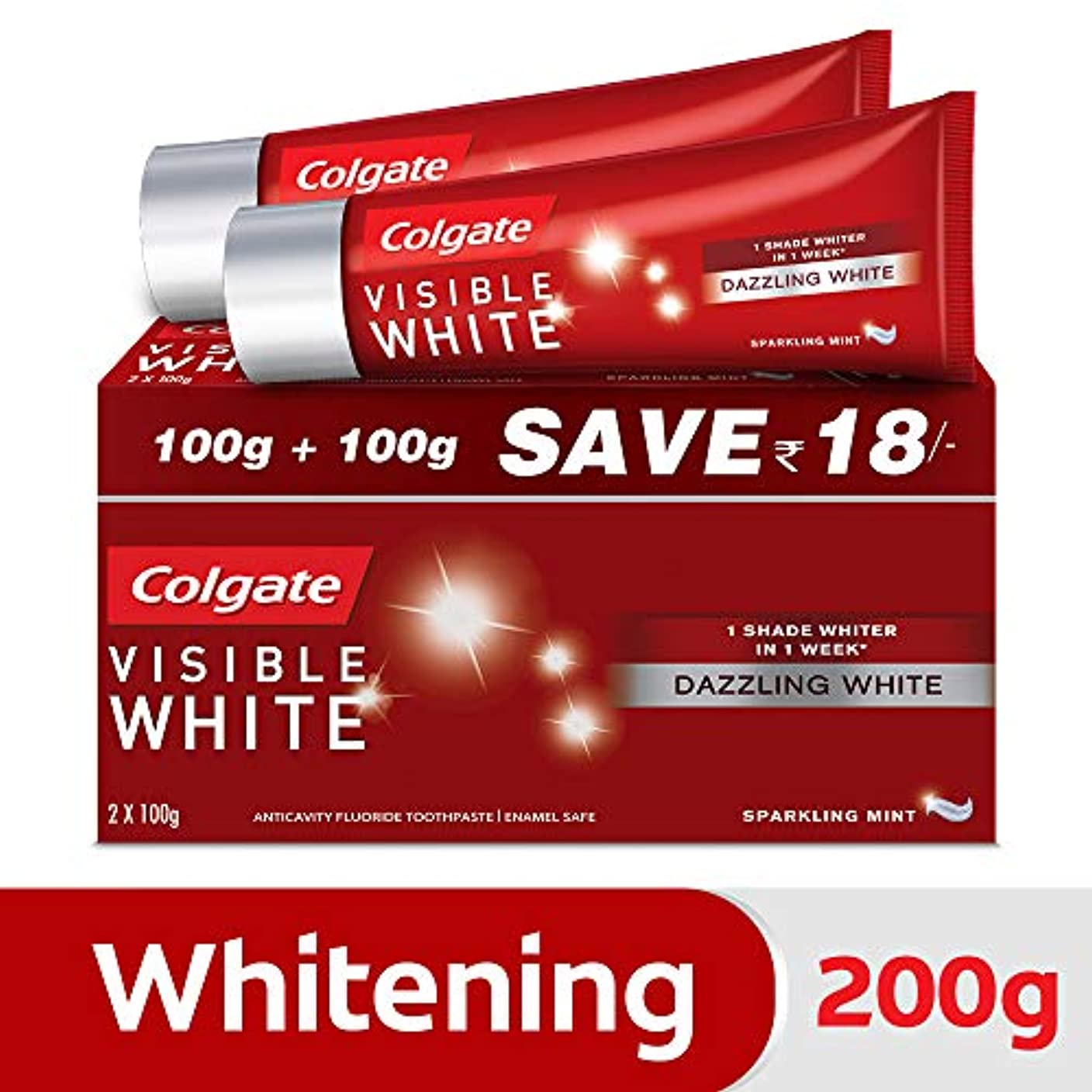 距離自分の支給Colgate Visible White Dazzling White Toothpaste, Sparkling Mint - 200gm (Pack of 2)