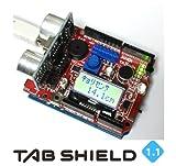 TABシールドは、オープンソースハードウェアArduino上で電子部品を接続配線することなく、誰もが簡単に使えるようにした拡張キットです。入力部品となる多くのセンサやスイッチ、可変抵抗などから、外部出力となるLCD、LED、スピーカなどを自由に組み合わせ、複雑かつ高度なシステムを、いちはやく構築することが可能です。システムの極意は「システム=入力+処理+出力」 で、入力=センサ類・可変抵抗器・スイッチなど   処理=プログラミング(スケッチ)   出力=LCD(液晶ディスプレィ)...