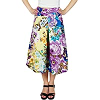 Bimba Womens Floral Printed Midi Skirt Box Pleat Skirt with Pockets