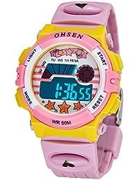 腕時計 きっず 女の子 子供用 デジタル アラーム付き スポーツウォッチ 受験 小学生 LED ピンク