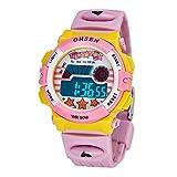 デジタル時計 腕時計 子供 キッズスポーツウォッチ LED カジュアル 女の子 男の子 ピンク