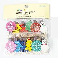かわいい木製クリップペグClothespinsのフォトアルバムポストカードメモ用紙DecorクランプでロープMerryクリスマスギフト5点
