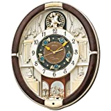 SEIKO CLOCK (セイコークロック) 掛け時計 電波 アナログ からくり 30曲メロディ 回転飾り 濃茶 RE571B