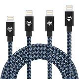 Aonsen ライトニングケーブル 【4本セット1M 2M 2M 3M】 ナイロン編み USB充電ケーブル 高耐久 データ転送ケーブル アイフォン ケーブル iPhone X/8/7/7 Plus/6/6s/6 Plus/SE/5/5s / iPad / iPod /iIOS10 対応 -ブラックブルー