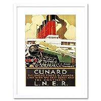 Travel Train Rail Engine Ocean Liner Ship Steam UK Framed Wall Art Print 旅行列車レールエンジン海洋ライナー船蒸気イギリス壁