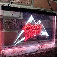Coors Light Beer Bar LED看板 ネオンサイン バーライト 電飾 ビールバー 広告用標識 ホワイト+レッド 30cm x 20cm