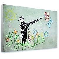 "Alonlineアート–Boy Crayon ShooterバンクシーFramedのコットンキャンバスホーム装飾壁アート博物館品質フレームをハングアップする準備フレーム 41""x27"" - 103x69cm (Stretched Cotton Canvas) VF-BNK139-SCC0F01-1P1A-41-27"