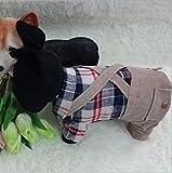 Amazon.co.jpMilkee ペット服 英国スタイル 格子縞のシャツ ストラップズボン 春夏秋  (S)