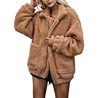 FIVEJIAO Women Lapel Long Sleeve Shearling Winter Boyfriend Faux Coat Zipper Jacket