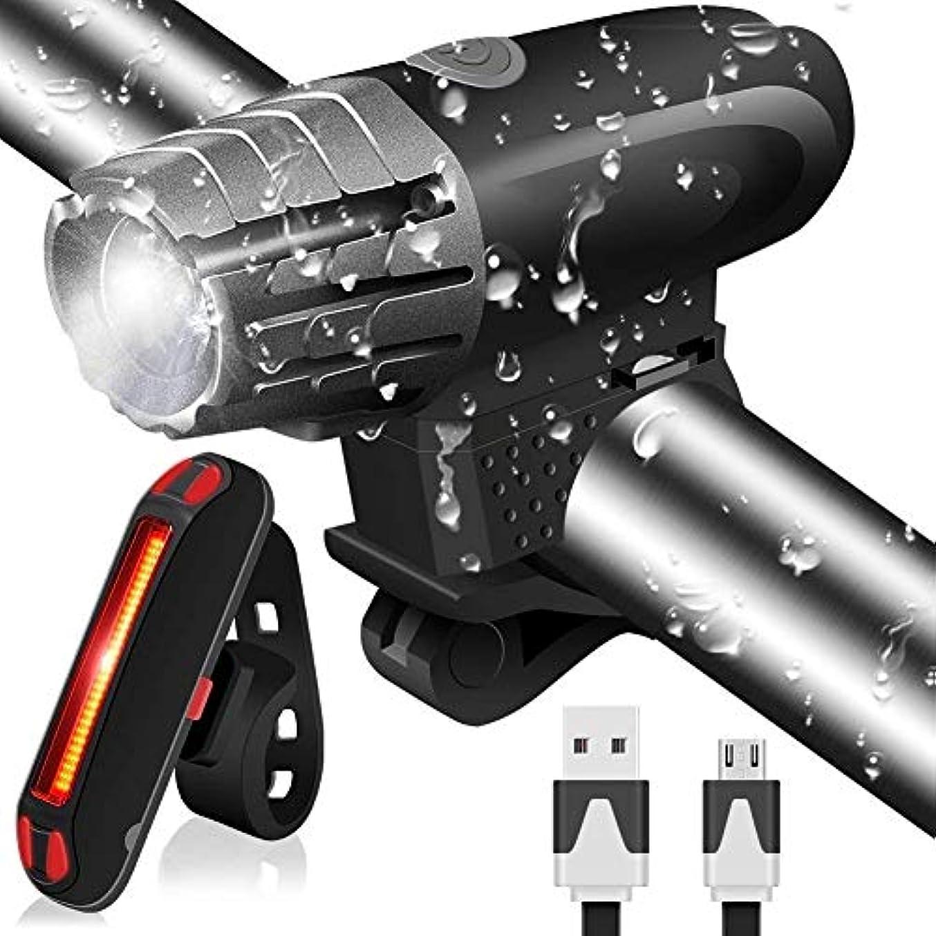 胴体ステップ精算MUTANG 自転車ライト、防水USB充電式サイクリングライトセット強力なLEDブライトルーメン自転車ライトセット、フロントヘッドライト&リアバックテールライト、夜間サイクリング安全