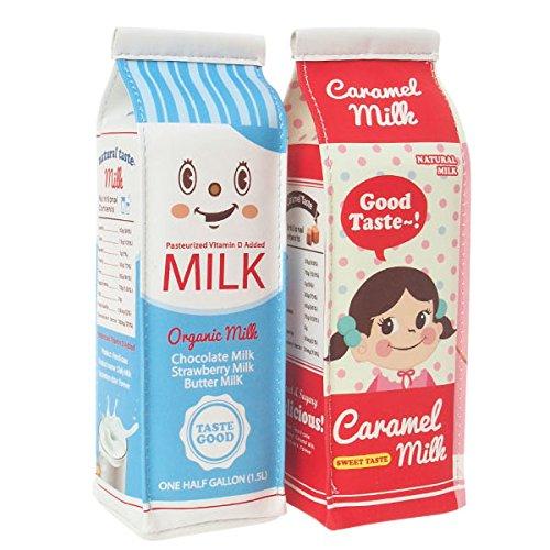 おもしろ 筆箱 / 立つ 牛乳 パック ペンケース / スタンド 型 キャラメル ミルク ポーチ / レッド