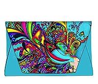 ファッションレザーメスエンベロープバッグクラッチハンドバッグwith抽象アート印刷