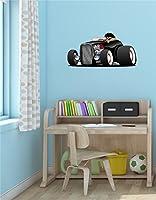"""24"""" Cartoonホットロッド車ブラック# 1with Driver壁デカール子ども部屋ステッカーグラフィックアート飾り中"""