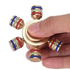 JPUP 指スピナー ハンドスピナー Hand Spinner セラミックのボールベアリング 超耐久性の高速度 指先のこま 高速回転 独楽 ストレス解消 金属仕樣で 1 - 6分平均スピン 銅 SY-2