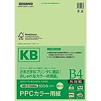 コクヨ PPCカラー用紙 共用紙 FSC認証 B4 100枚 緑 KB-C134NG 【まとめ買い3冊セット】