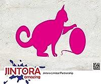 JINTORA ステッカー/カーステッカー - Cat Cat - キャット・キャット - 120x90mm - JDM/Die cut - 車/ウィンドウ/ラップトップ/ウィンドウ- ピンク