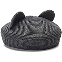 2020 Womens Hats Caps Lovely 2019 Beret Cap Spring Summer Ladies Hat Straw Korean Version of The Wild Fashion Casual Soft Decoration Cat Ears Beret Black Solid Color (Color : Black, Size : 56-58cm)