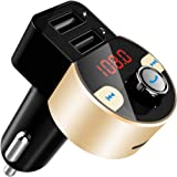 FirstE Bluetooth FM Transmitter, Car Radio Audio Adapter MP3 Player Handsfree Car Kit with Dual USB Ports 5V/3.1A, LED Displa
