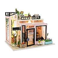 ミニチュア DIYドールハウス 手作りキットセット ドールハウス ミニ家具工芸品キット ミニチュアコレクション LEDライト付き 組み立て工具付き (カバーなし) 約32×21×5.5Cm