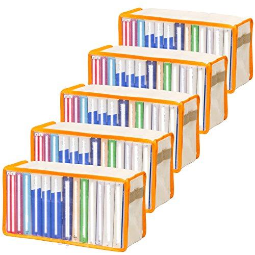 アストロ 本収納ケース 5枚組 オレンジ 不織布製 文庫本の収納にぴったりです! 609-01